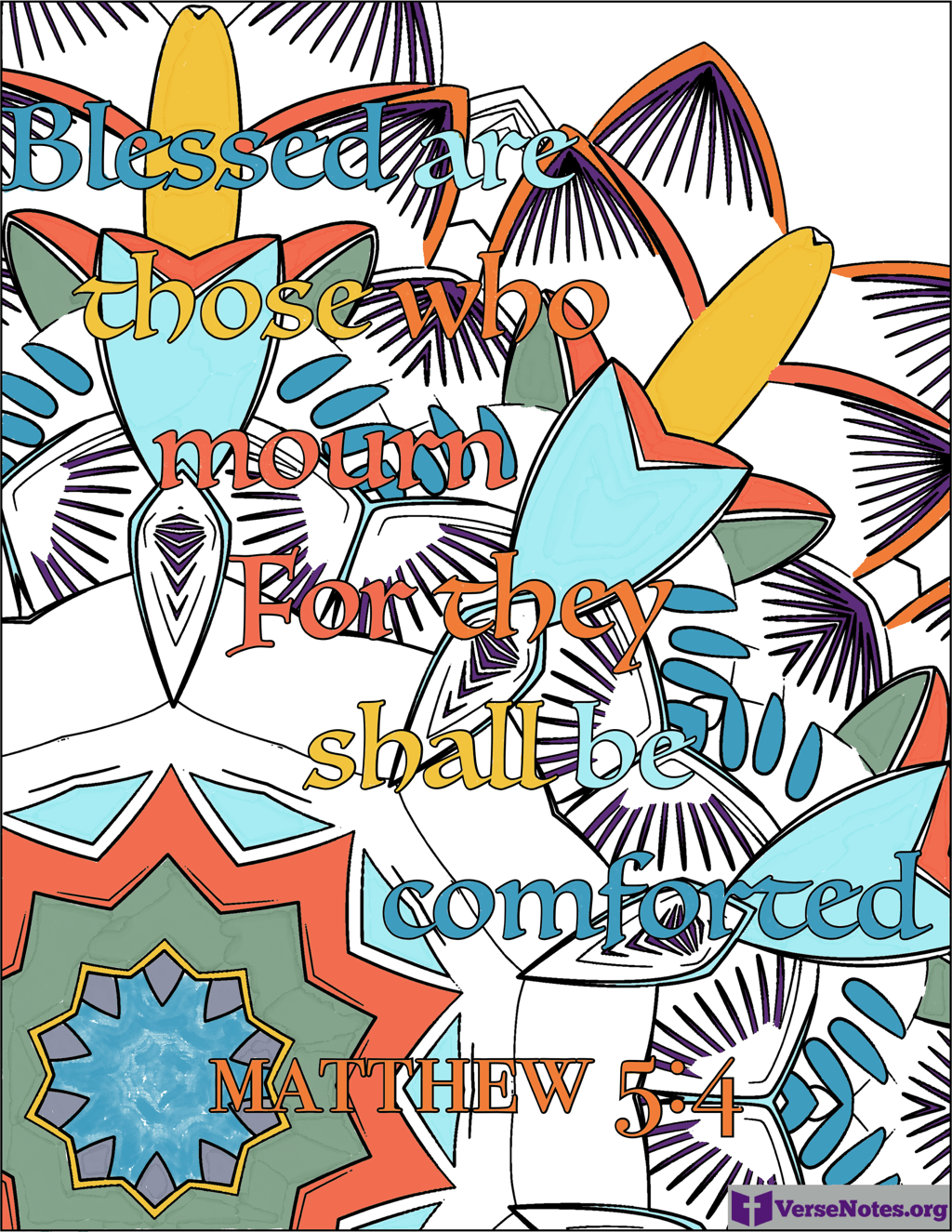 Finished coloring page for Matthew 5:4