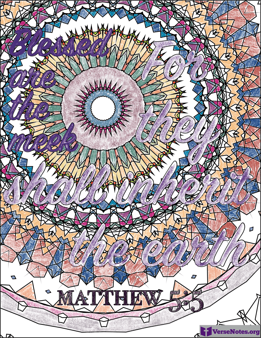 Finished coloring page for Matthew 5:5