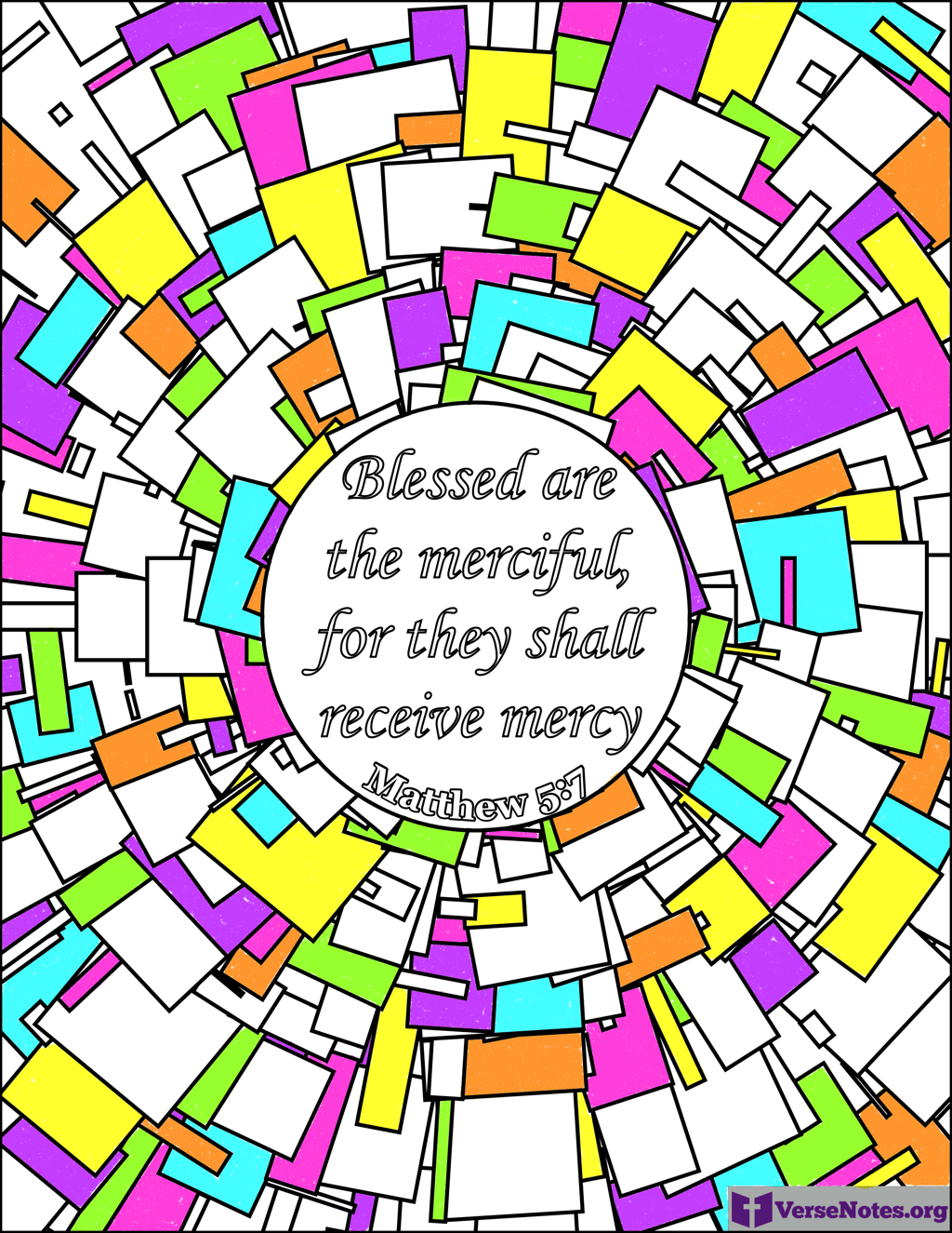 Finished coloring page for Matthew 5:7