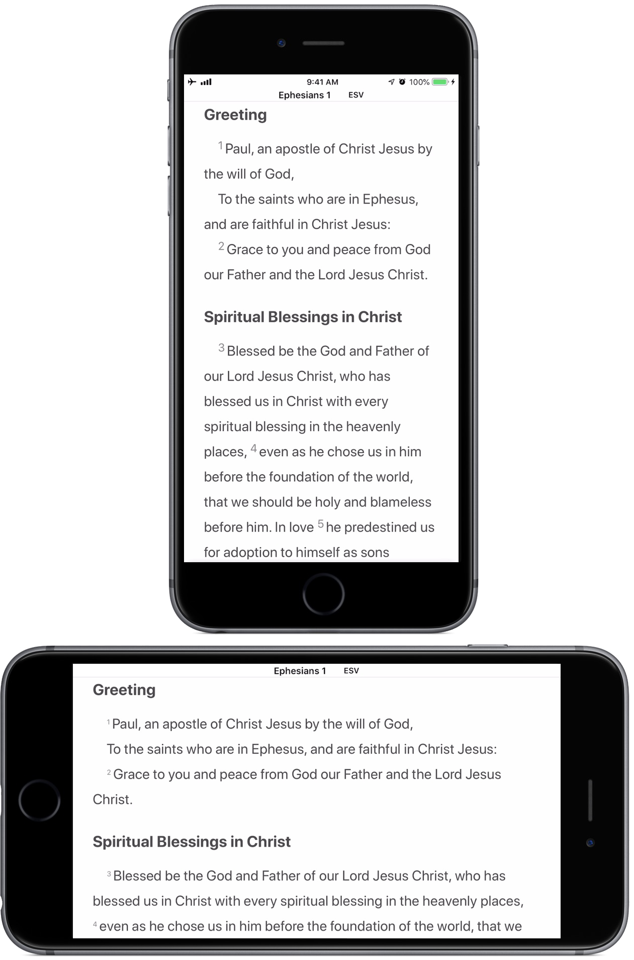 Ephesians 1:1–2 displayed by upright and sideways iPhones.