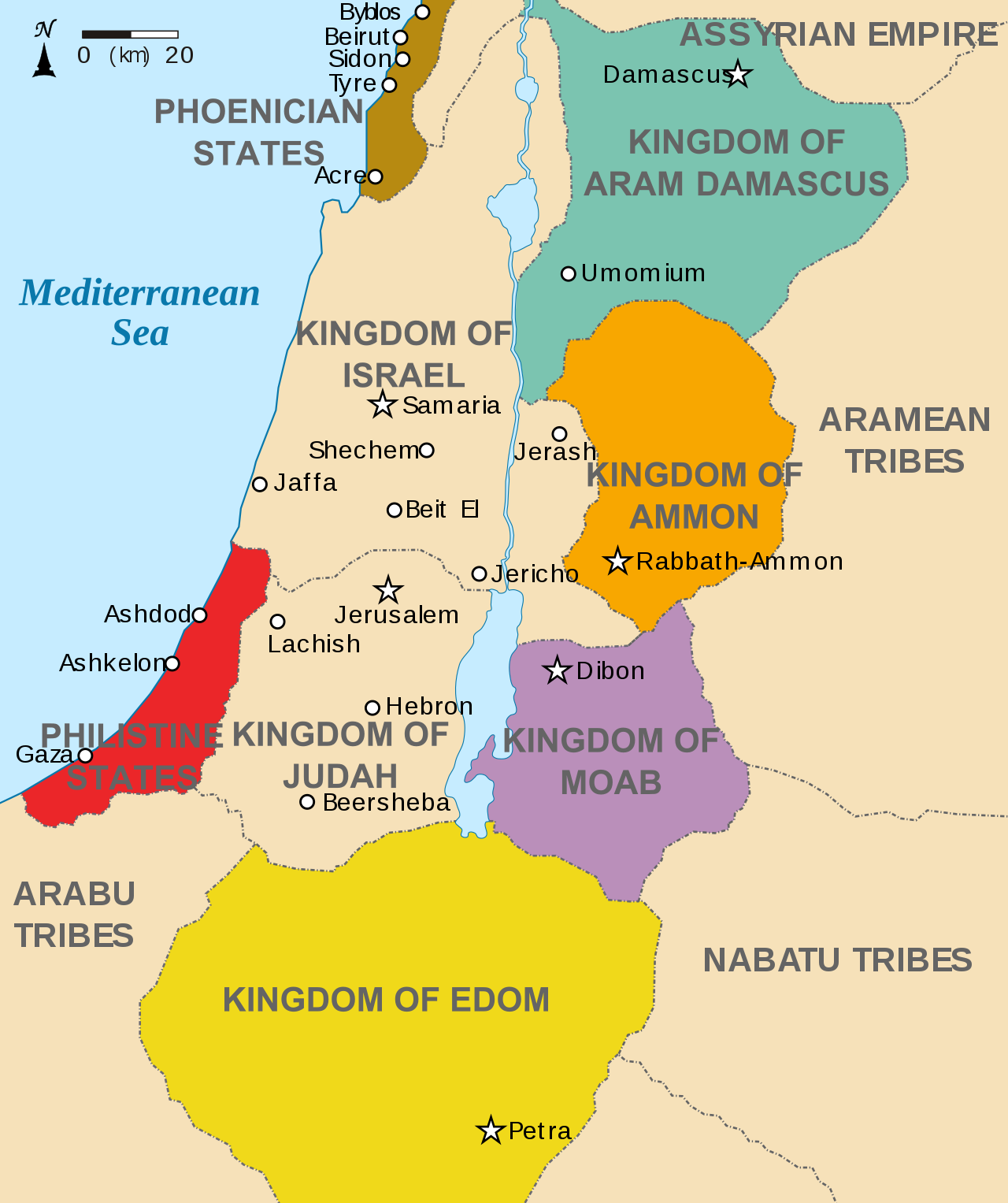 Map of Isreal and Moab, circa 830 BC