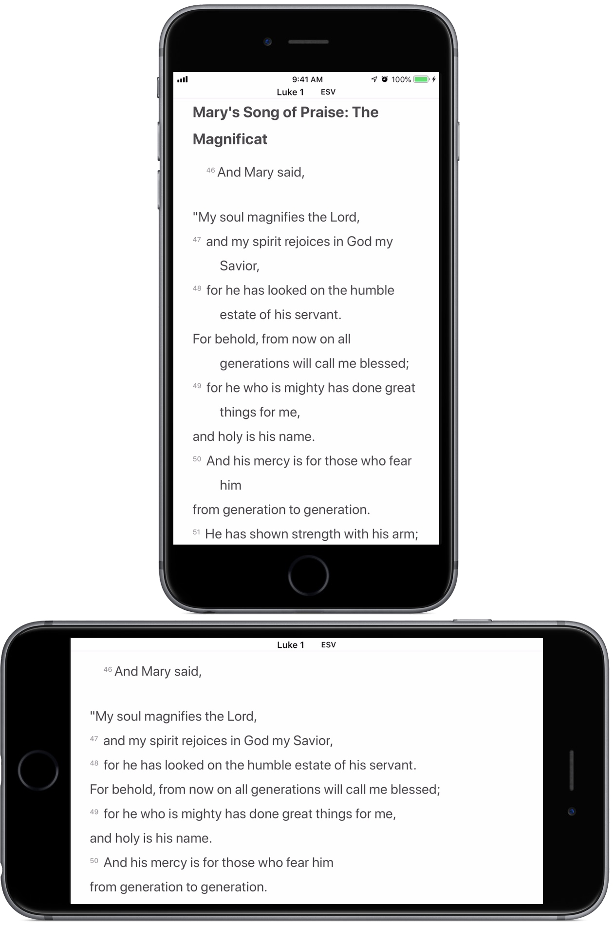 Luke 1:46–50 displayed by upright and sideways iPhones.