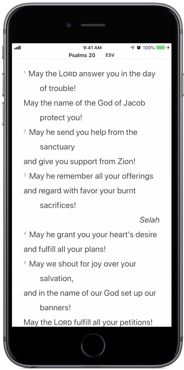 Psalm 20:1–3, as displayed by an upright iPhone